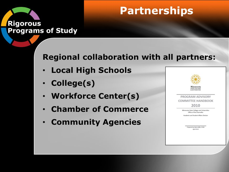 Partnerships Regional collaboration with all partners: Local High Schools College(s) Workforce Center(s) Chamber of Commerce Community Agencies
