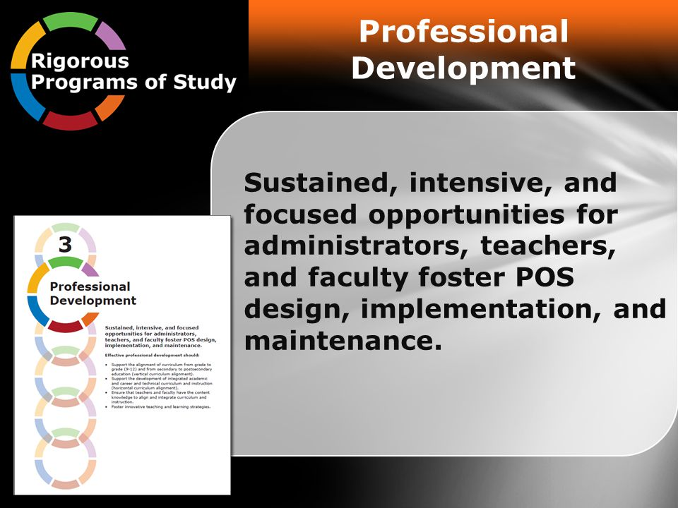 Professional Development Sustained, intensive, and focused opportunities for administrators, teachers, and faculty foster POS design, implementation, and maintenance.