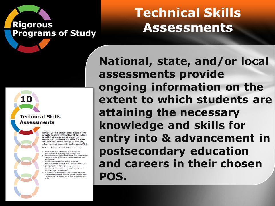 Technical Skills Assessments National, state, and/or local assessments provide ongoing information on the extent to which students are attaining the necessary knowledge and skills for entry into & advancement in postsecondary education and careers in their chosen POS.