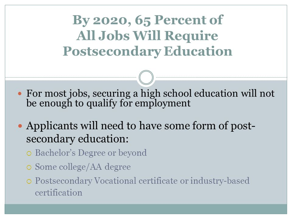 By 2020, 65 Percent of All Jobs Will Require Postsecondary Education Applicants will need to have some form of post- secondary education:  Bachelor's Degree or beyond  Some college/AA degree  Postsecondary Vocational certificate or industry-based certification For most jobs, securing a high school education will not be enough to qualify for employment