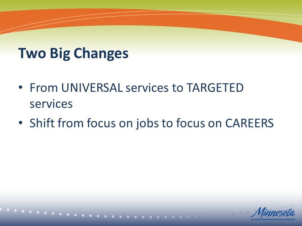 Two Big Changes From UNIVERSAL services to TARGETED services Shift from focus on jobs to focus on CAREERS