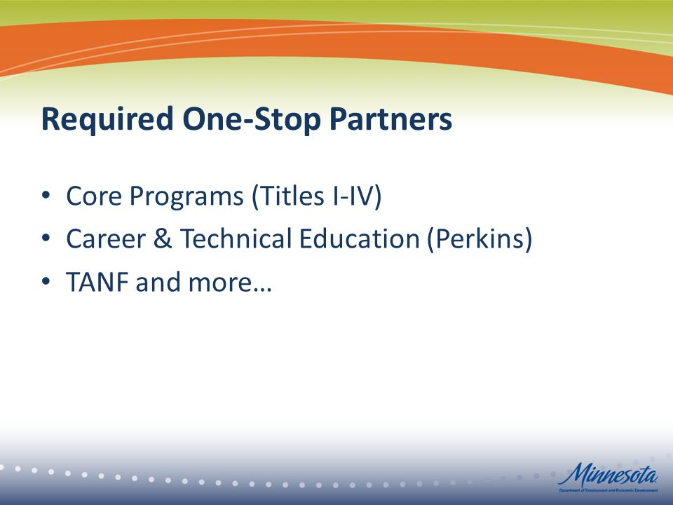Required One-Stop Partners Core Programs (Titles I-IV) Career & Technical Education (Perkins) TANF and more…