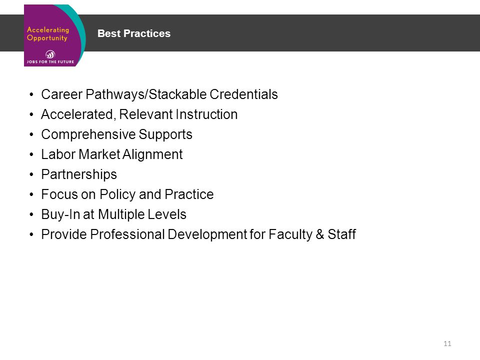 Best Practices Career Pathways/Stackable Credentials Accelerated, Relevant Instruction Comprehensive Supports Labor Market Alignment Partnerships Focus on Policy and Practice Buy-In at Multiple Levels Provide Professional Development for Faculty & Staff 11