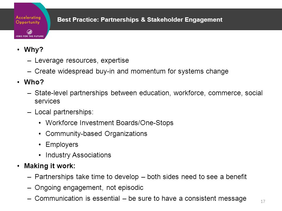 Best Practice: Partnerships & Stakeholder Engagement Why.