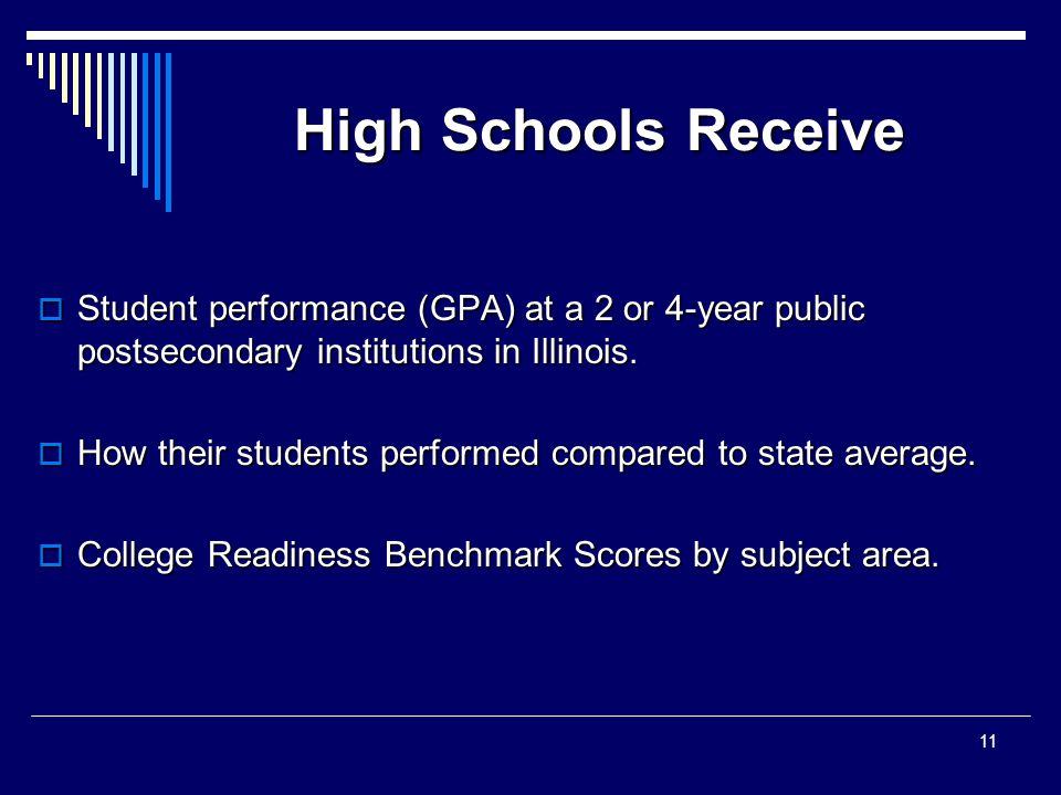 High Schools Receive  Student performance (GPA) at a 2 or 4-year public postsecondary institutions in Illinois.