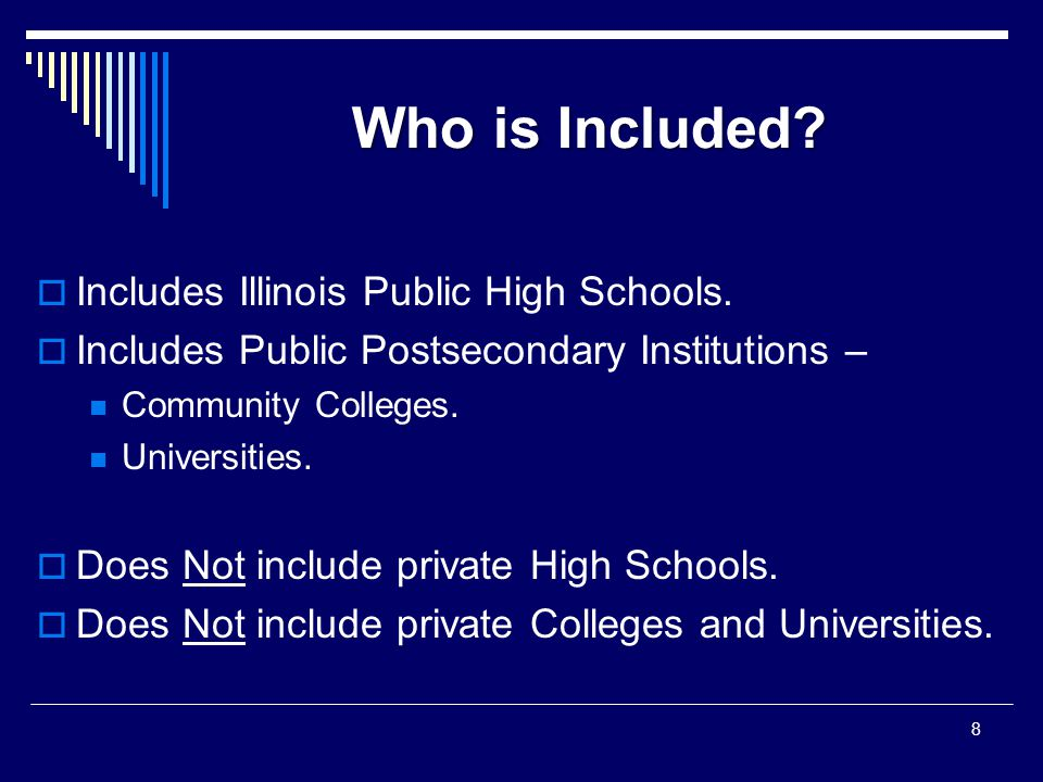 Who is Included.  Includes Illinois Public High Schools.