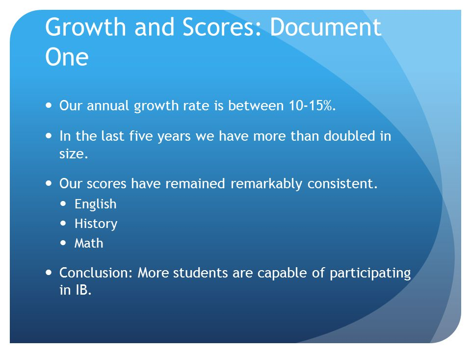 Growth and Scores: Document One Our annual growth rate is between 10-15%.