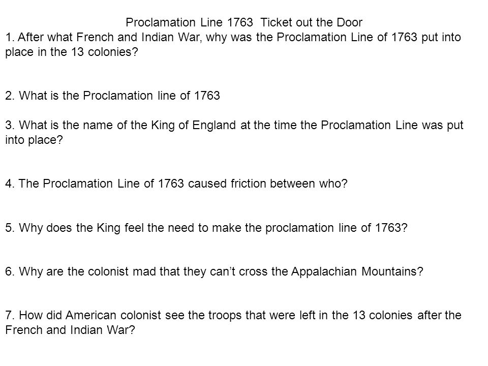 Proclamation Line 1763 Ticket out the Door 1.