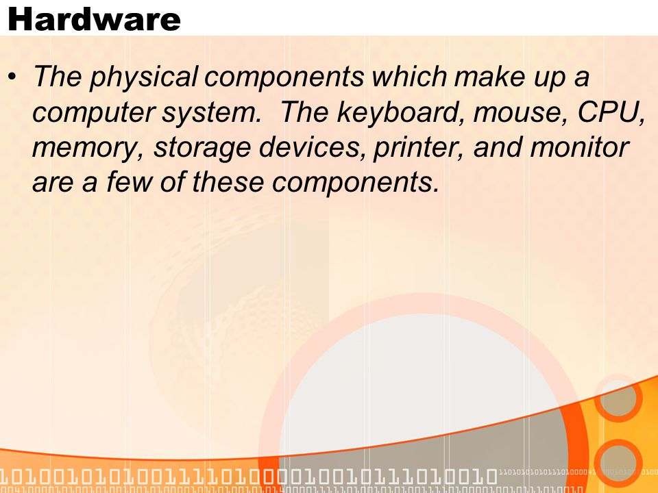 The physical components which make up a computer system.