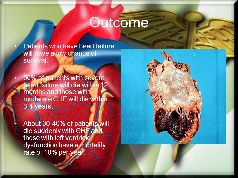 Outcome Patients who have heart failure will have a low chance of survival.