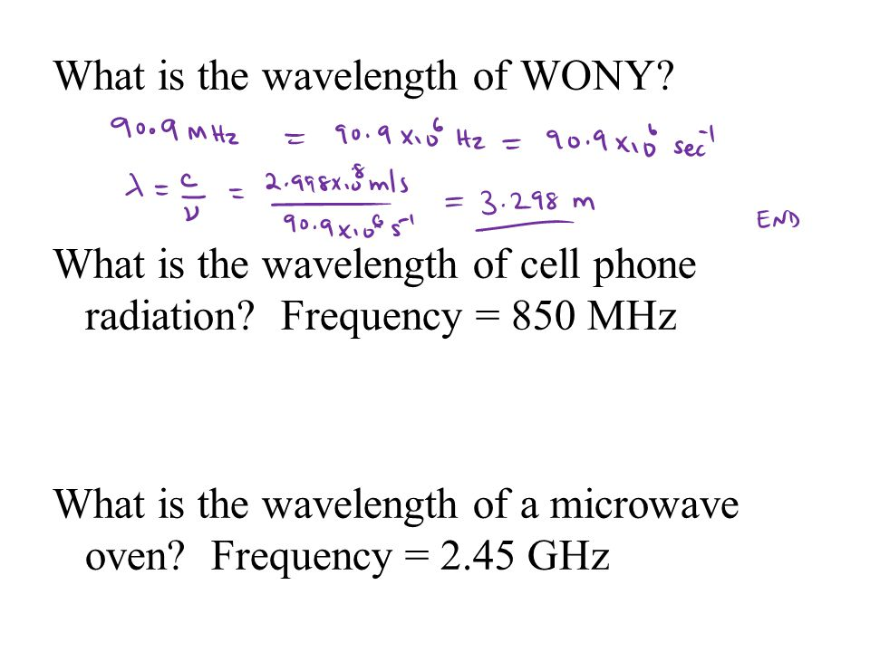 What is the wavelength of WONY. What is the wavelength of cell phone radiation.
