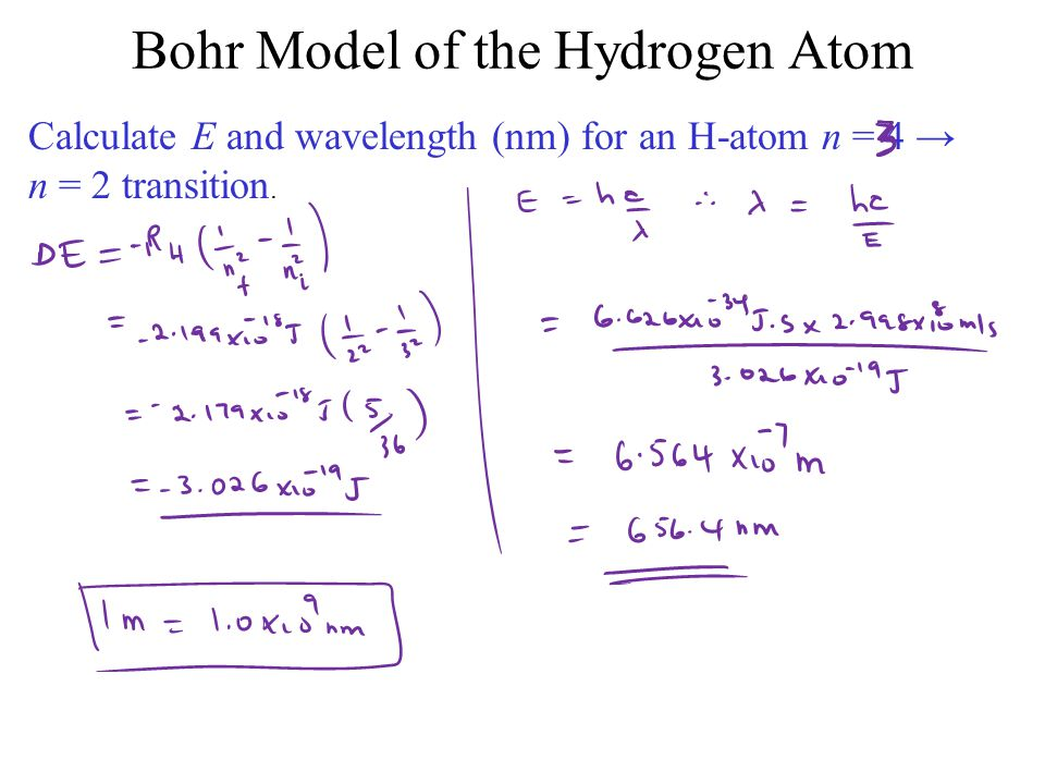 Calculate E and wavelength (nm) for an H-atom n = 4 → n = 2 transition.