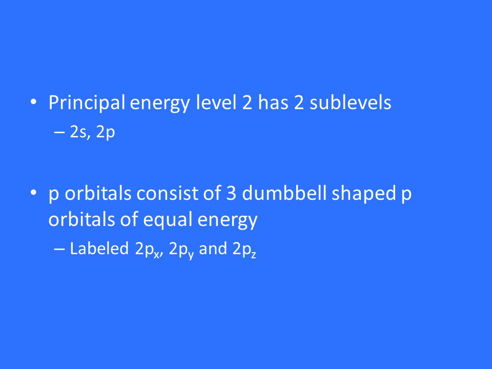 Principal energy level 2 has 2 sublevels – 2s, 2p p orbitals consist of 3 dumbbell shaped p orbitals of equal energy – Labeled 2p x, 2p y and 2p z