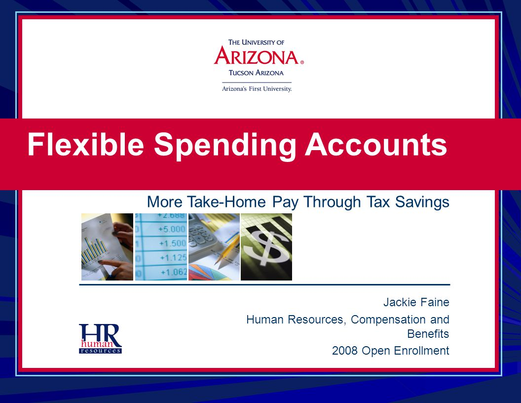 Jackie Faine Human Resources, Compensation and Benefits 2008 Open Enrollment Flexible Spending Accounts More Take-Home Pay Through Tax Savings