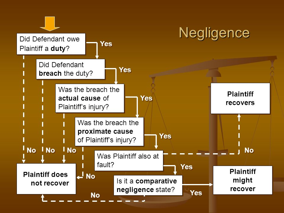 Negligence Was the breach the actual cause of Plaintiff's injury.