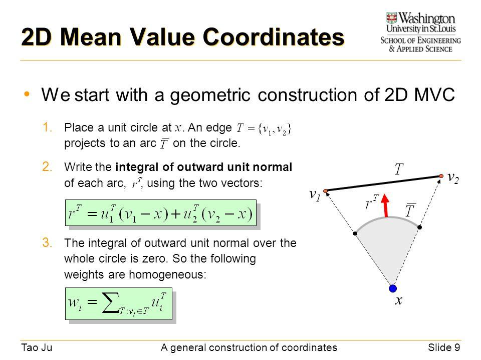 tao jua general construction of coordinatesslide 9 2d mean value coordinates we start with a geometric