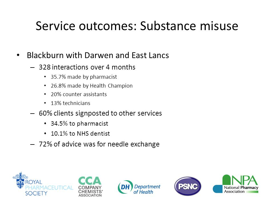 Service outcomes: Substance misuse Blackburn with Darwen and East Lancs – 328 interactions over 4 months 35.7% made by pharmacist 26.8% made by Health Champion 20% counter assistants 13% technicians – 60% clients signposted to other services 34.5% to pharmacist 10.1% to NHS dentist – 72% of advice was for needle exchange