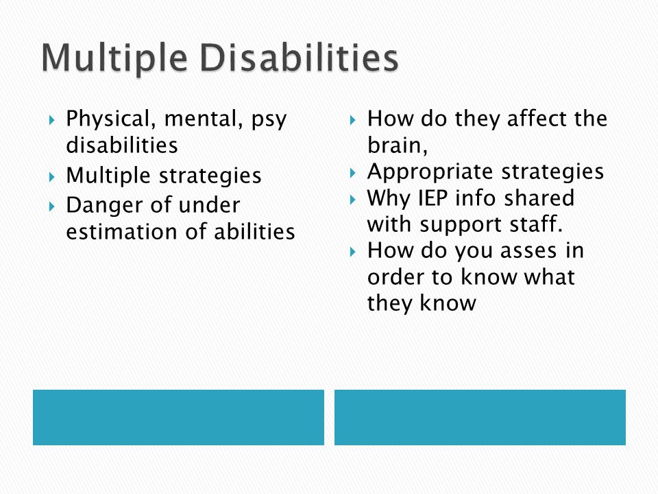  Physical, mental, psy disabilities  Multiple strategies  Danger of under estimation of abilities  How do they affect the brain,  Appropriate strategies  Why IEP info shared with support staff.