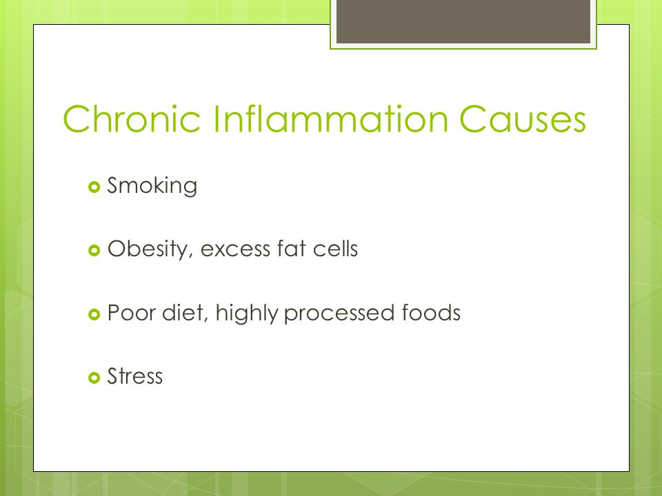 Chronic Inflammation Causes  Smoking  Obesity, excess fat cells  Poor diet, highly processed foods  Stress