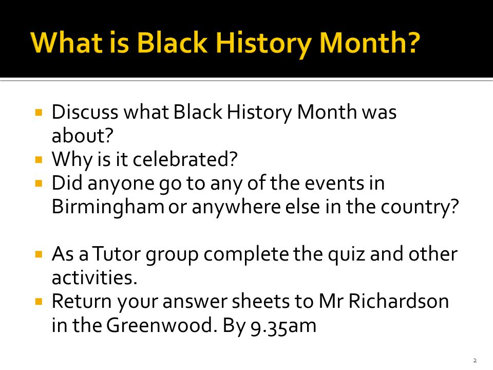photo regarding Black History Month Quiz Printable identify Oct was Black Heritage Thirty day period 1. ï'¡ Focus on what Black