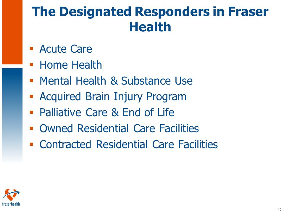 10 The Designated Responders in Fraser Health  Acute Care  Home Health  Mental Health & Substance Use  Acquired Brain Injury Program  Palliative Care & End of Life  Owned Residential Care Facilities  Contracted Residential Care Facilities