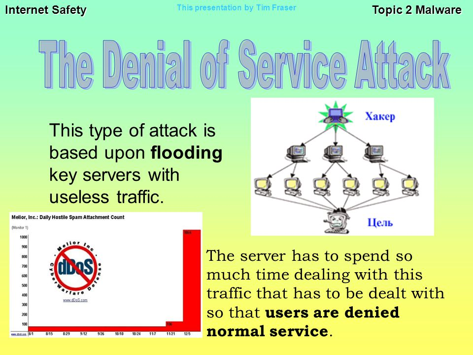 Internet Safety Topic 2 Malware This presentation by Tim Fraser This type of attack is based upon flooding key servers with useless traffic.
