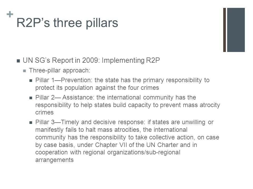 + R2P's three pillars UN SG's Report in 2009: Implementing R2P Three-pillar approach: Pillar 1—Prevention: the state has the primary responsibility to protect its population against the four crimes Pillar 2— Assistance: the international community has the responsibility to help states build capacity to prevent mass atrocity crimes Pillar 3—Timely and decisive response: if states are unwilling or manifestly fails to halt mass atrocities, the international community has the responsibility to take collective action, on case by case basis, under Chapter VII of the UN Charter and in cooperation with regional organizations/sub-regional arrangements