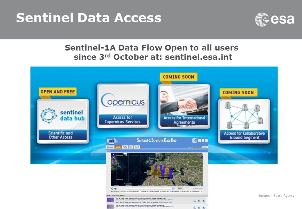 Sentinel Data Access Sentinel-1A Data Flow Open to all users since 3 rd October at: sentinel.esa.int