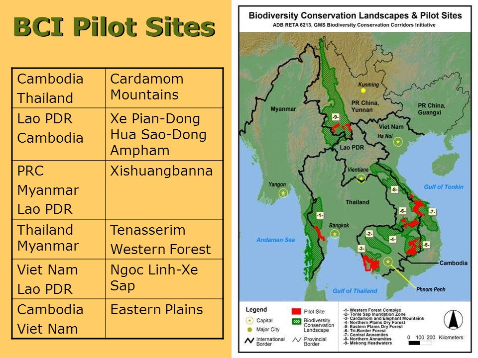 BCI Pilot Sites Cambodia Thailand Cardamom Mountains Lao PDR Cambodia Xe Pian-Dong Hua Sao-Dong Ampham PRC Myanmar Lao PDR Xishuangbanna Thailand Myanmar Tenasserim Western Forest Viet Nam Lao PDR Ngoc Linh-Xe Sap Cambodia Viet Nam Eastern Plains