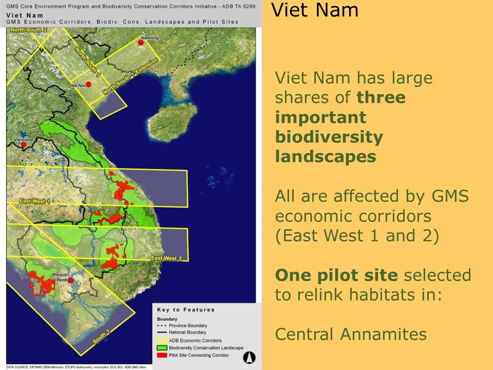 Viet Nam has large shares of three important biodiversity landscapes All are affected by GMS economic corridors (East West 1 and 2) One pilot site selected to relink habitats in: Central Annamites Viet Nam