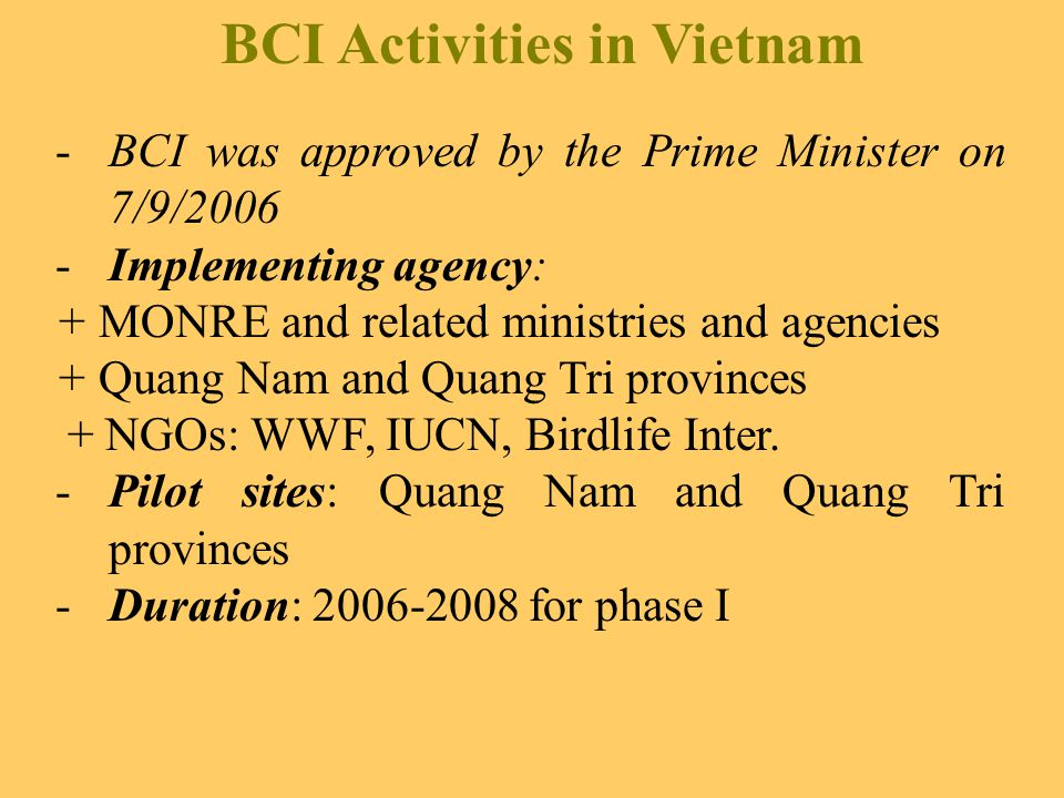 BCI Activities in Vietnam -BCI was approved by the Prime Minister on 7/9/2006 -Implementing agency: + MONRE and related ministries and agencies + Quang Nam and Quang Tri provinces + NGOs: WWF, IUCN, Birdlife Inter.