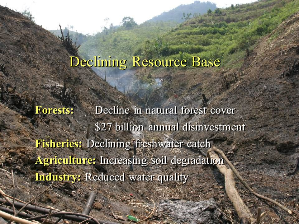 Declining Resource Base Forests: Decline in natural forest cover $27 billion annual disinvestment Fisheries: Declining freshwater catch Agriculture: Increasing soil degradation Industry: Reduced water quality Forests: Decline in natural forest cover $27 billion annual disinvestment Fisheries: Declining freshwater catch Agriculture: Increasing soil degradation Industry: Reduced water quality