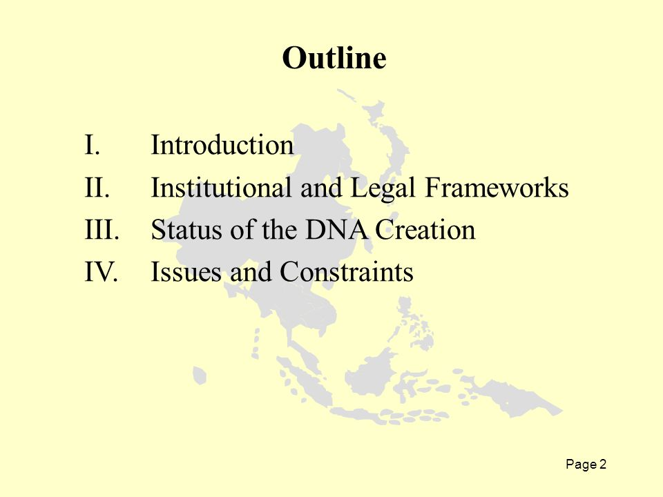 Page 2 I. Introduction II. Institutional and Legal Frameworks III.Status of the DNA Creation IV.