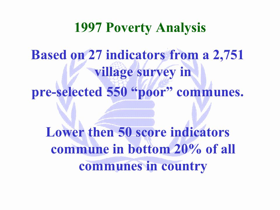 Selection Process of Poor Communes 1) >40% poor in 2000 analysis AND Poorest 25% in 1997/98/99 Analyses 70 Communes-505,000 people 2) >40% poor in 2000 analysis AND 25% poorest in 1997 or 1998 analyses 198 communes-1,502,000 people 3) >50% poor in 2000 analysis AND Not selected in 1) or 2) above 90 communes-424,000 people Total 358 communes-2,431,000 people (20% of population as of March 2001)