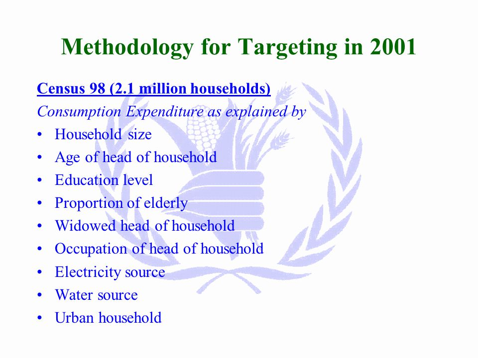 Methodology for Targeting in 2001 Socio-Economic Survey (3,000 households) Consumption Expenditure as explained by Household size Age of head of household Education level Proportion of elderly Widowed head of household Occupation of head of household Electricity source Water source Urban household