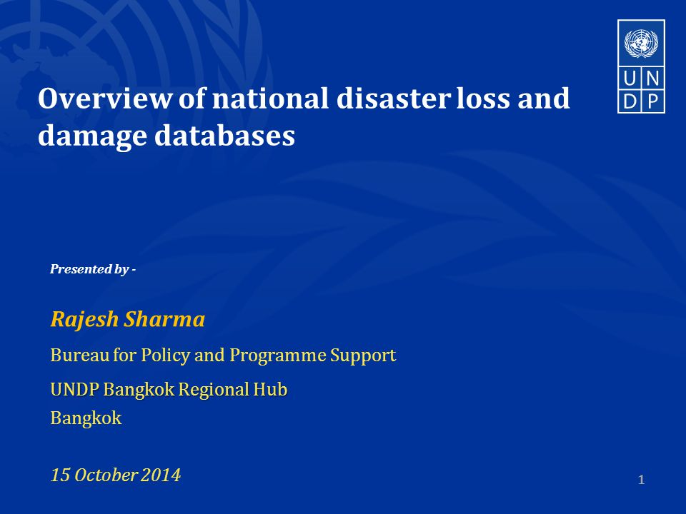 Overview of national disaster loss and damage databases Presented by - Rajesh Sharma Bureau for Policy and Programme Support UNDP Bangkok Regional Hub Bangkok 15 October
