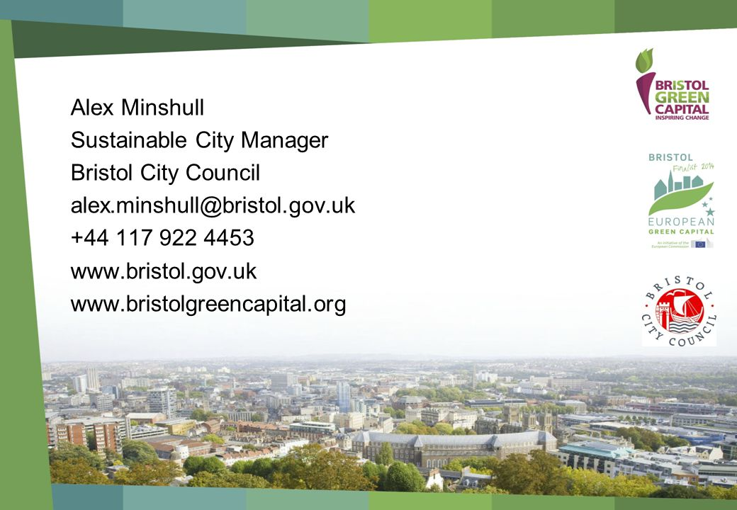 Alex Minshull Sustainable City Manager Bristol City Council