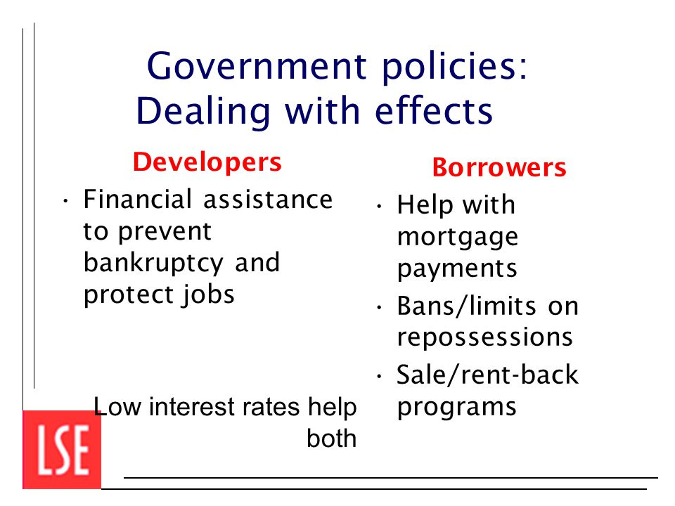 Government policies: Dealing with effects Developers Financial assistance to prevent bankruptcy and protect jobs Low interest rates help both Borrowers Help with mortgage payments Bans/limits on repossessions Sale/rent-back programs