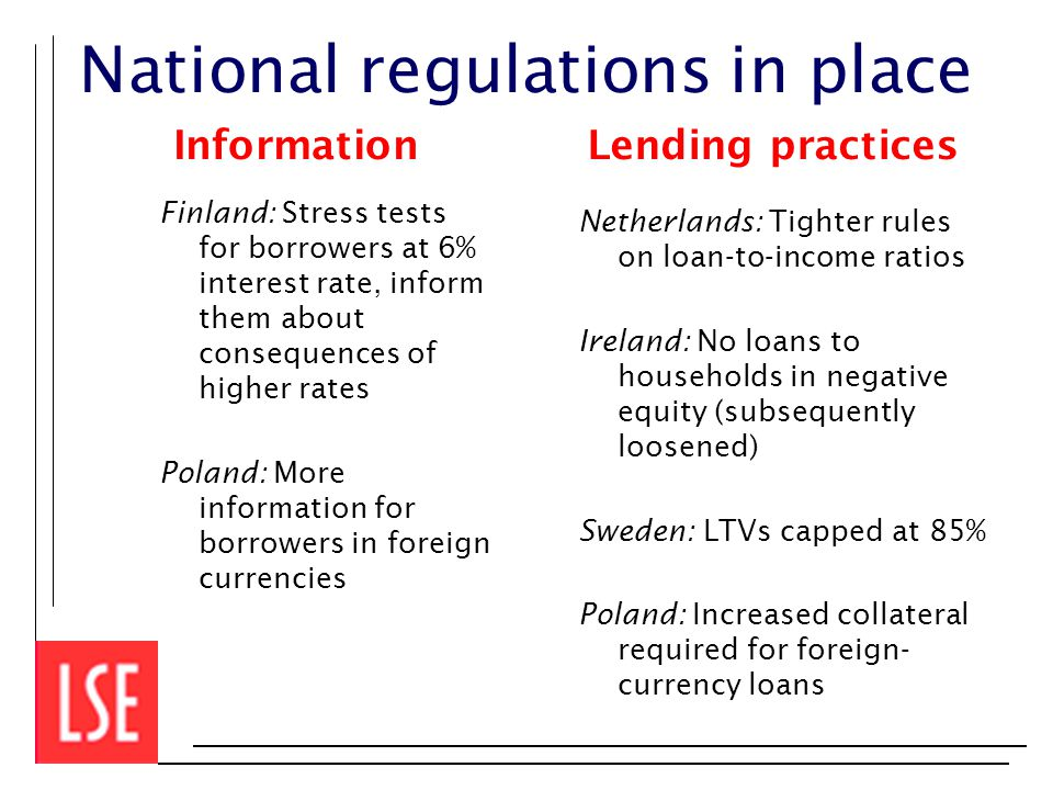 National regulations in place Information Finland: Stress tests for borrowers at 6% interest rate, inform them about consequences of higher rates Poland: More information for borrowers in foreign currencies Lending practices Netherlands: Tighter rules on loan-to-income ratios Ireland: No loans to households in negative equity (subsequently loosened) Sweden: LTVs capped at 85% Poland: Increased collateral required for foreign- currency loans