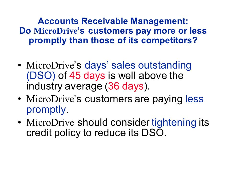 Accounts Receivable Management: Do MicroDrive 's customers pay more or less promptly than those of its competitors.