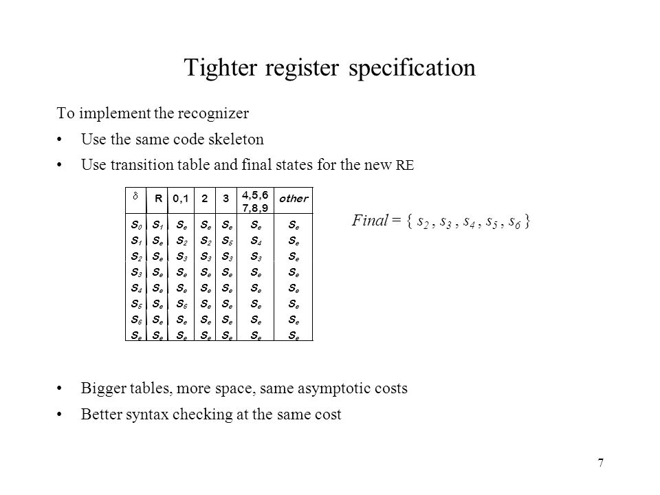 7 Tighter register specification To implement the recognizer Use the same code skeleton Use transition table and final states for the new RE Bigger tables, more space, same asymptotic costs Better syntax checking at the same cost Final = { s 2, s 3, s 4, s 5, s 6 }