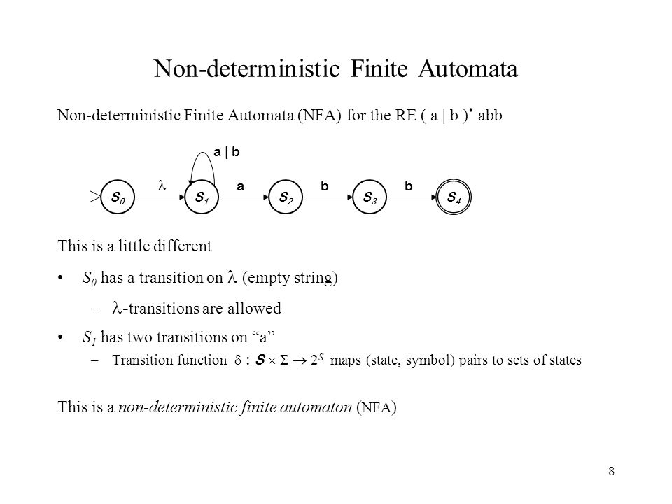 8 Non-deterministic Finite Automata Non-deterministic Finite Automata (NFA) for the RE ( a | b ) * abb This is a little different S 0 has a transition on (empty string) – - transitions are allowed S 1 has two transitions on a –Transition function  : S    2 S maps (state, symbol) pairs to sets of states This is a non-deterministic finite automaton ( NFA ) a | b S0S0 S1S1 S4S4 S2S2 S3S3 abb
