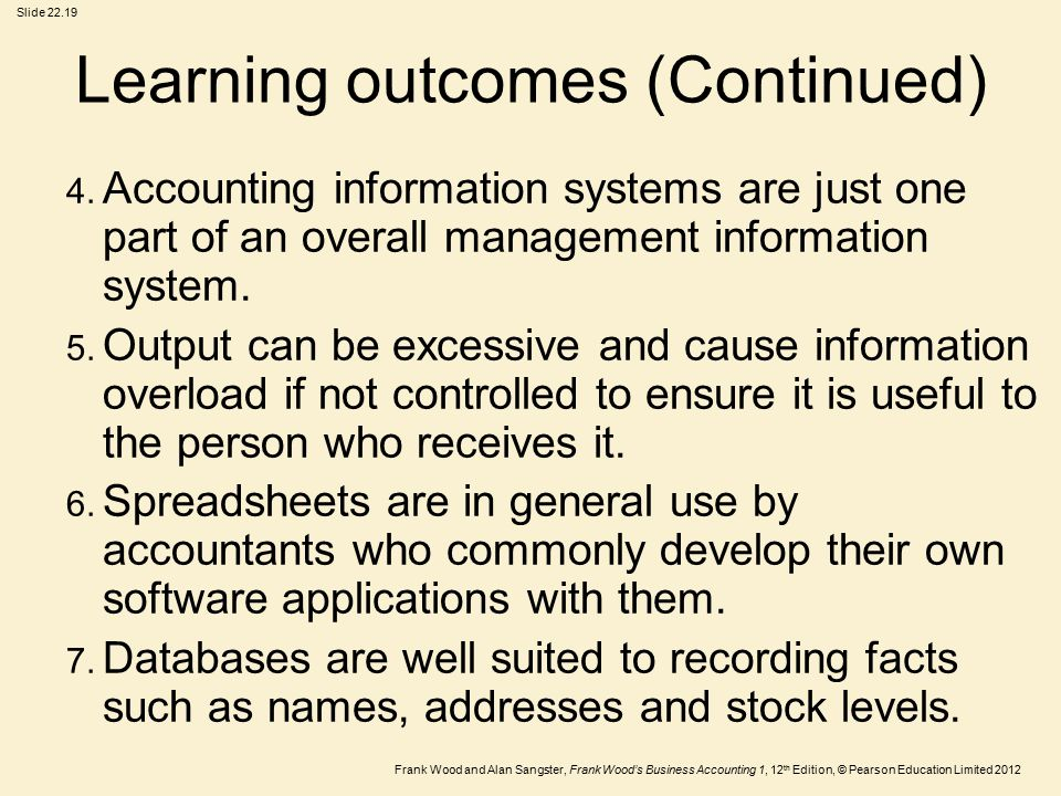 Frank Wood and Alan Sangster, Frank Wood's Business Accounting 1, 12 th Edition, © Pearson Education Limited 2012 Slide Learning outcomes (Continued) 4.