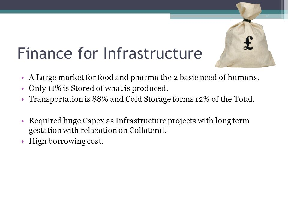 Finance for Infrastructure A Large market for food and pharma the 2 basic need of humans.