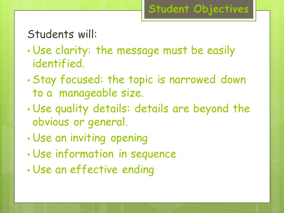 Student Objectives Students will: Use clarity: the message must be easily identified.