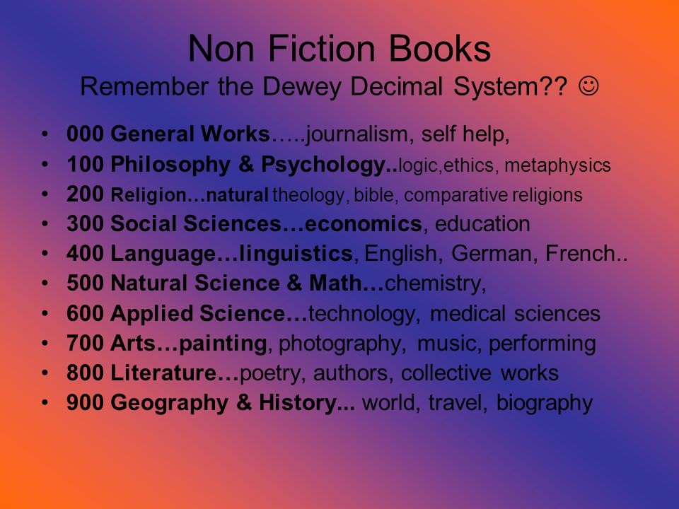 Non Fiction Books Remember the Dewey Decimal System .