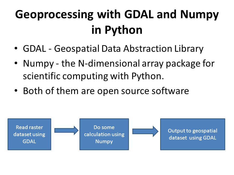 Geoprocessing with GDAL and Numpy in Python Delong Zhao ppt download