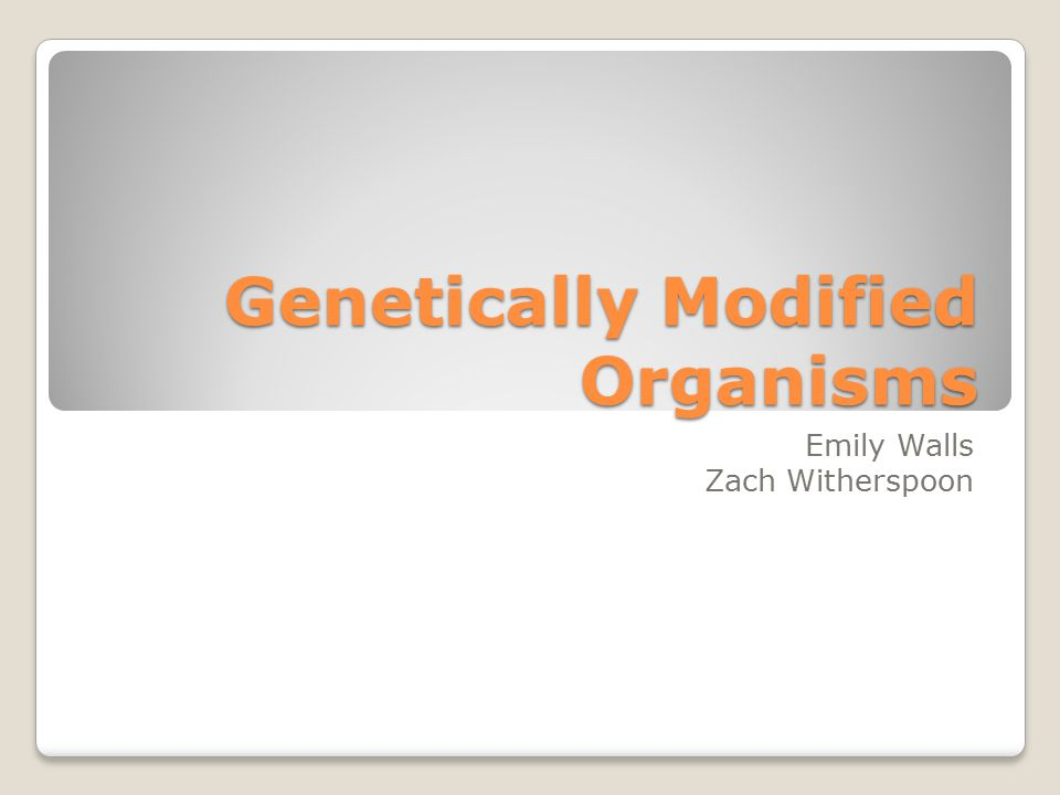Genetically Modified Organisms Emily Walls Zach Witherspoon