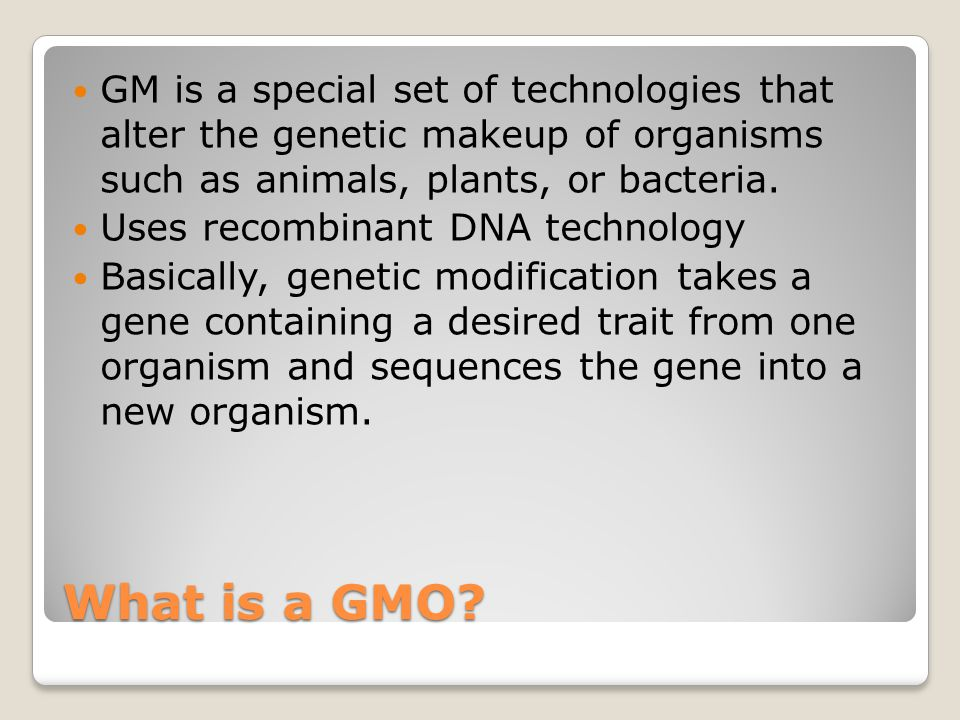 What is a GMO.