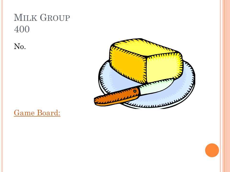 M ILK G ROUP 400 Is butter considered a milk product Answer:
